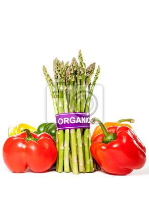 Gesunder Spargel und Paprika mit Bio-Label-