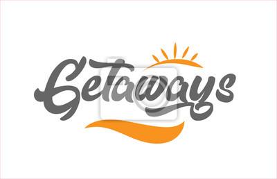 Bild getaways black hand writing word text typography design logo icon