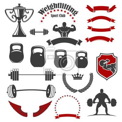 Gewichtheben sport club isoliert symbole für emblem leinwandbilder ...
