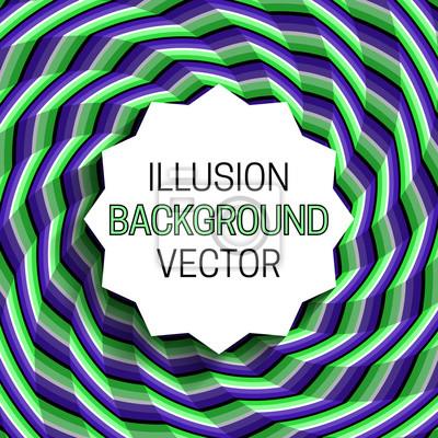 Gezackter runder Rahmen mit Schatten auf Illusionhintergrund des beweglichen gewundenen Musters.