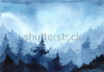 Bild Gezeichnete Illustration des Aquarells Hand mit Winterwald. Winterlandschaft mit Weihnachtsbäumen. Weihnachtskarte