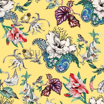 Bild Gezeichnetes nahtloses Muster des Aquarells Hand mit tropischen Sommerblumen und exotischen Vögeln auf gelbem Hintergrund