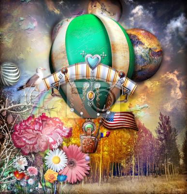 Giardino dell'eden mit mongolfiera steampunk und fiori fiabeschi