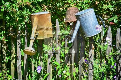 Gießkanne Alt Garten Garten Natur Hölzer Holzzaun Bäuerlich