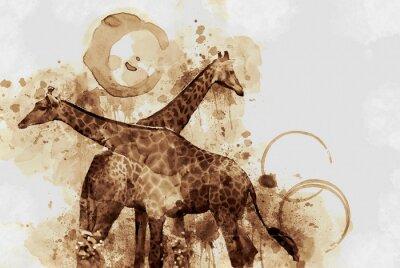 Bild Giraffe. Digital Art Coffee stain panting.