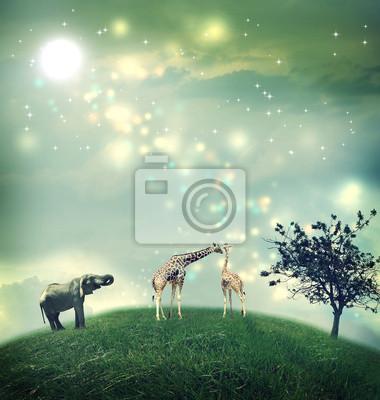 Giraffen und Elefanten auf einem Hügel