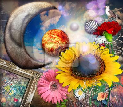 Girasole und Fiori tropicali in un giardino fantastischen sotto la luna