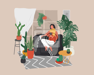 Bild Girl sitting and resting on the couch with a cat and coffee. Daily life and everyday routine scene by young woman in scandinavian style cozy interior with homeplants. Cartoon vector