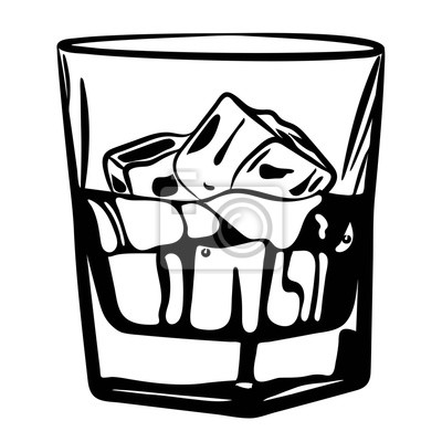 Glas Alkohol Glas Mit Eis Schwarz Und Weiß Vektor