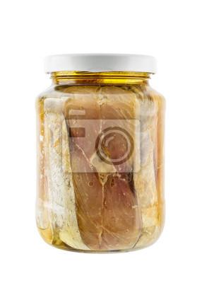 Glas von gesalzener Makrele Fisch in Sojaöl