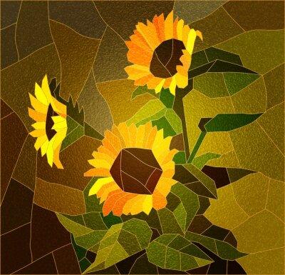 Bild Glasfenster mit Sonnenblumen