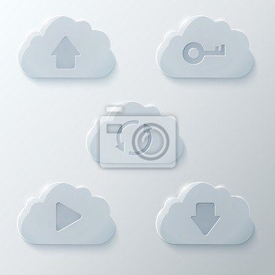 Glass Clouds Icons Set