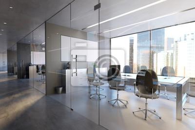 Bild Glass Office Room Wall Mockup - 3d rendering