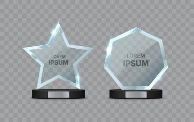 Bild Glass trophy awards set. Transparent star and geometric shape on the pedestal. Vector illustration