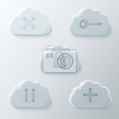 Glass Wolken Icons Set