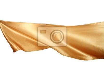 Glatte elegante goldene Satin auf weißem Hintergrund.