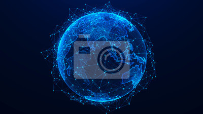 Bild Global network concept. World map point. Global network planet Earth. 3D rendering.