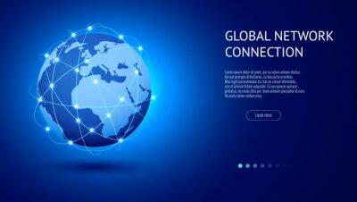 Bild Global network connection concept. Best Internet, global business. World map point and line composition vector illustration