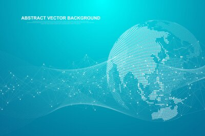 Bild Global network connection concept. Big data visualization. Social network communication in the global computer networks. Internet technology. Business. Science. Vector illustration