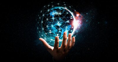 Bild Global network connection covering earth with link of innovative perception . Concept of international trading and digital investment, 5G global wireless connection and future of internet of things .