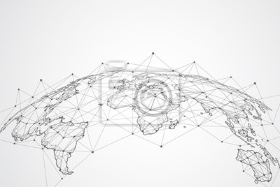 Bild Global network connection. World map point and line composition concept of global business. Vector Illustration