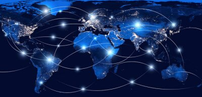 Bild Global networking and international communication. World map as a symbol of the global network. Elements of this image furnished by NASA.