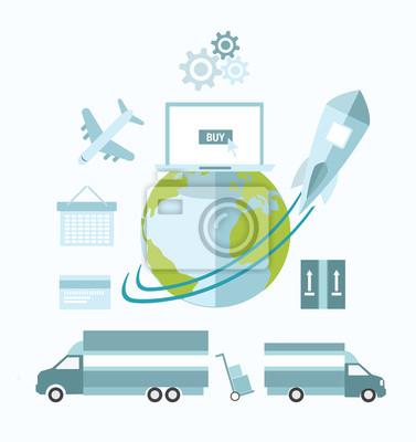 Globale E-Commerce-Vektor mit Erde und Transport