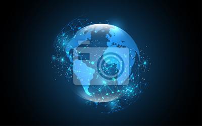 Bild Globale Netzwerkverbindung Globales Geschäftsinnovationskonzept der Weltkarte-abstrakten Technologiehintergrundes