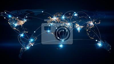 Bild Globales Geschäftskonzept von Verbindungen und von Information übertragen in der Abbildung der Welt 3d