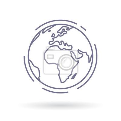 Bild Globe icon. Earth sign. World symbol. Simple thin line icon on white background. Vector illustration.