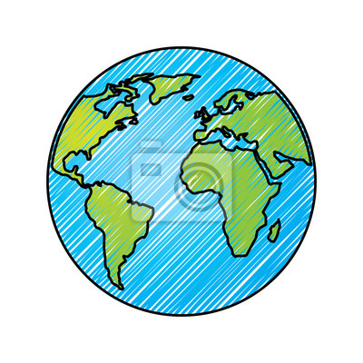 Globe world earth planet map icon vector illustration drawing ... on