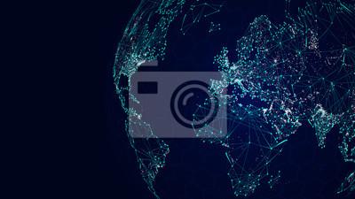 Bild Globus internationales Netzwerk, Sci-Fi Weltkarte Hintergrund