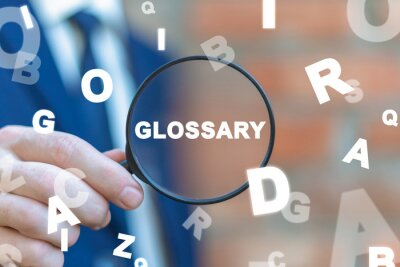 Bild Glossary Concept. Search Information, Web Guide, Dictionary, Vocabulary.