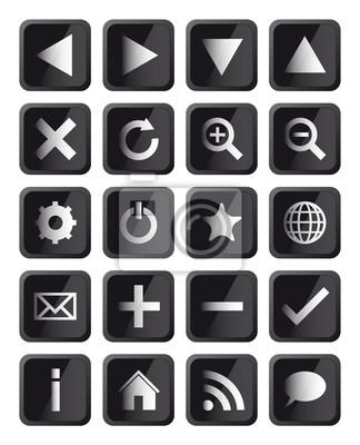 Bild Glossy Black Square Navigation Web Icons