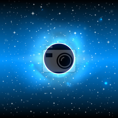 Glowing black planet in outer space