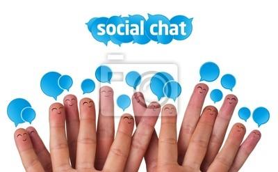 Glücklich Gruppe von Finger Smileys mit sozialen Chat-Zeichen