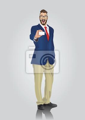 Glücklich gut gekleidete Geschäftsmann mit weißen Karte