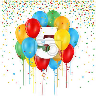 Glückliche 5 Geburtstag Jahrestags Karte Mit Bündel Mehrfarbiger