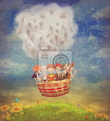 Glückliche Kinder in der Luft Ballon in den Himmel - Abbildung ar