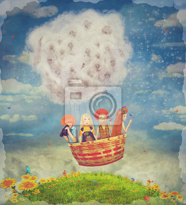 Glückliche Kinder in der Luft Ballon in den Himmel - Illustration Kunst