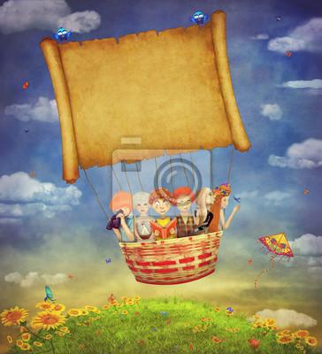 Glückliche Kinder mit einem Banner in den Himmel -illustration Kunst