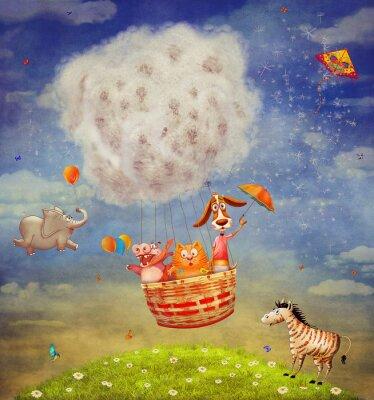 Glückliche Tiere in der Luft Ballon in den Himmel - Illustration Kunst