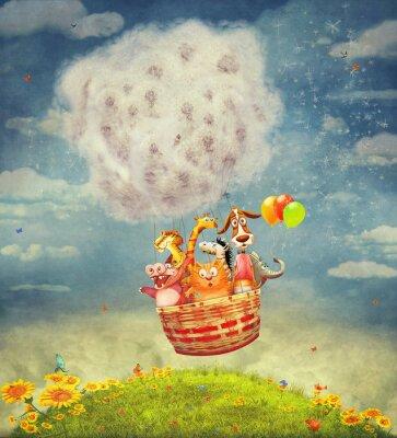 Bild Glückliche Tiere in der Luft Ballon in den Himmel - Illustration Kunst