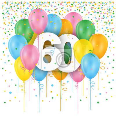 Karte 60 Geburtstag.Bild Glucklicher 60 Geburtstag Jahrestags Karte Mit Bundel Mehrfarbiger
