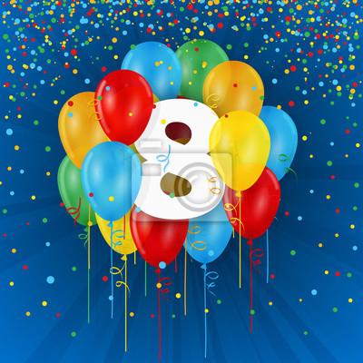 Jahrestag.Bild Glucklicher 8 Geburtstag Jahrestag Karte Mit Ballonen Und
