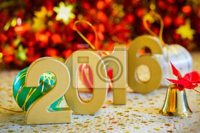 Glückliches neues Jahr 2016 Dekoration close up