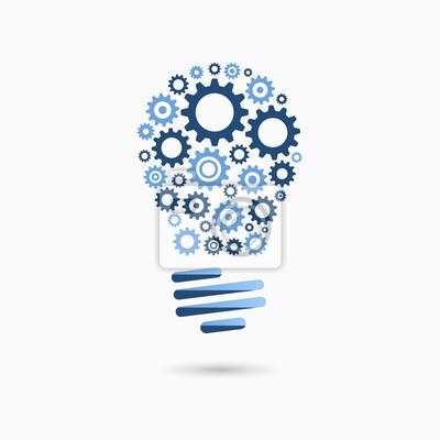Glühbirne idee-symbol mit zahnrädern im inneren. glühbirne zeichen ...