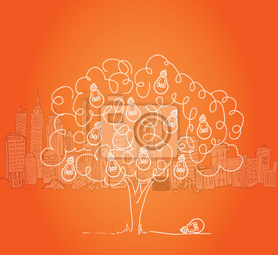 Glühbirne mit Baum Stadtbild im Hintergrund