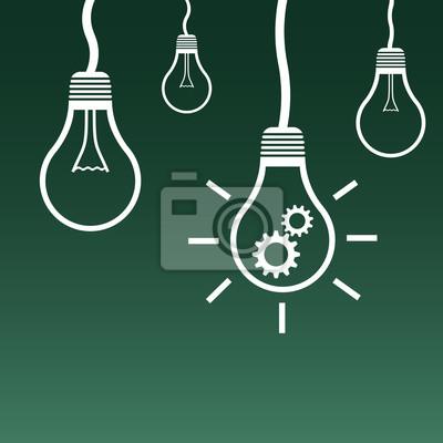 Bild Glühbirne Symbol. Flache Vektor-Illustration. Idee Zeichen Symbol auf grünem Hintergrund.