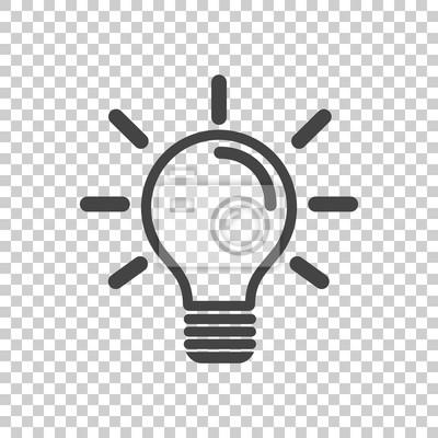 Bild Glühbirne-Symbol in isolierten Hintergrund. Idee flachen Vektor-Illustration. Icons für Design, Website.